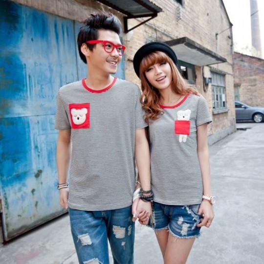 新款韩国春夏季短袖毛绒可爱情侣装亲子装条纹t恤