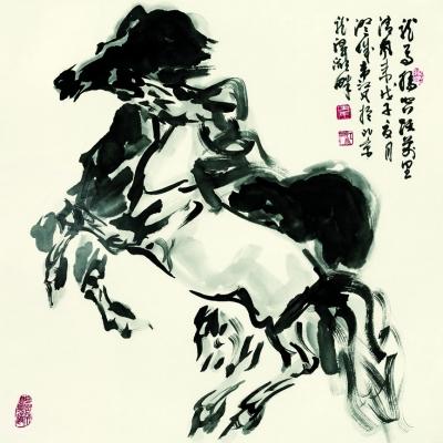 韦江凡所绘题材广泛,山水,人物,动物均有涉猎,晚年尤以画马著称.