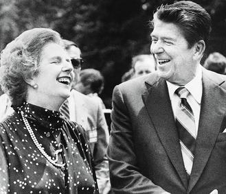 """英国前首相""""铁娘子""""撒切尔夫人与美国前总统里根"""