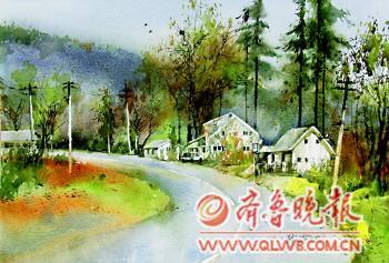 色彩水粉画风景房子