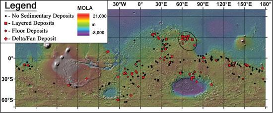 图中显示的是火星上226处古代湖泊的位置,其中大约有三分之一的湖泊仍然含有可见的粘土沉积