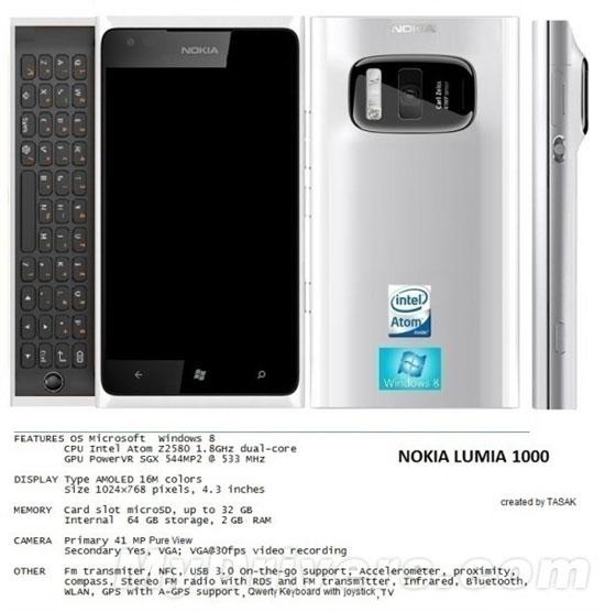 诺基亚wp8概念机亮相 或为lumia 1000