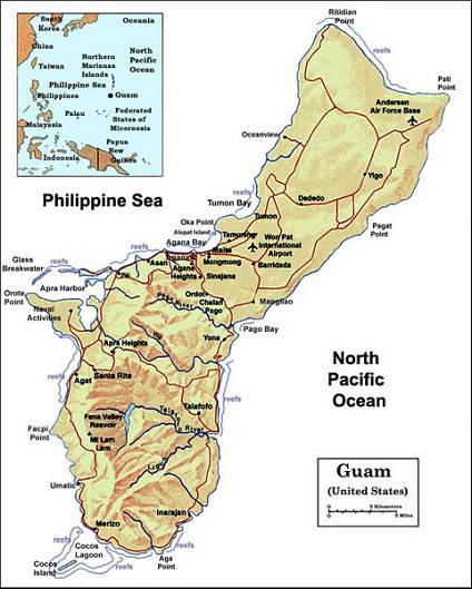 关岛地图; 美国关岛地图图片展示; 日本四国地图分享;