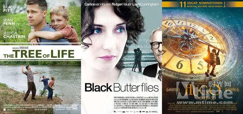 左起:《生命之树》《黑蝶漫舞》《雨果》海报