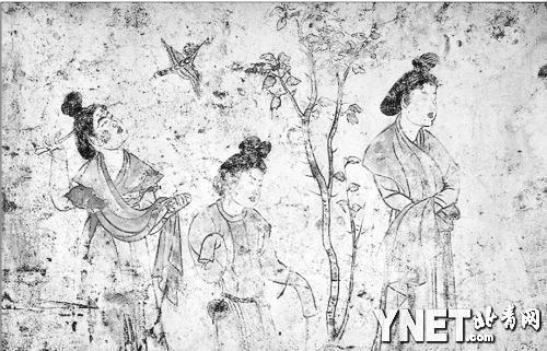 """唐代章怀太子墓壁画,描绘了宫中女性的生活,或可由此想象""""宋氏三"""