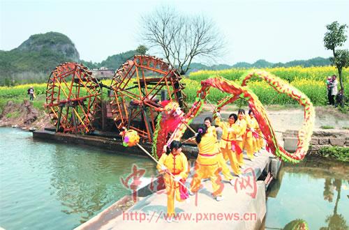当地村民在油菜花旁进行舞龙表演。