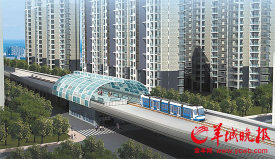 行驶在高架桥上的有轨电车概念图.图片