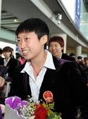 图文:世乒赛中国队凯旋抵京 郭跃面带笑容