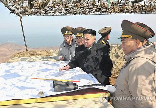 """金正恩4日视察东海岸前线部队""""丽岛防御队""""资料图"""