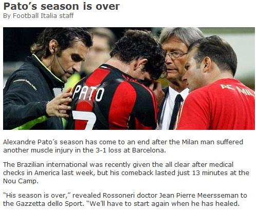 帕托赛季提前报销意大利媒体截屏