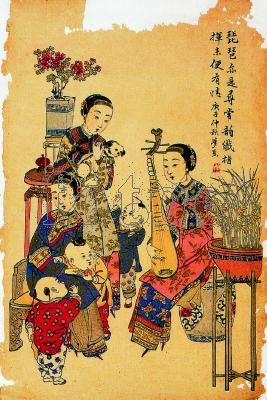 描绘古代歌女弹奏琵琶的情景.