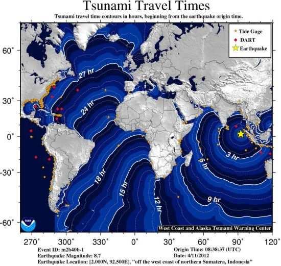 可能的海啸波。