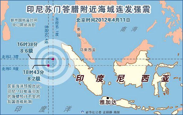 图表:印尼苏门答腊附近海域连发强震 新华社记者 孟丽静 编制