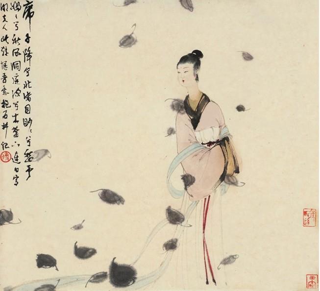 傅抱石 湘夫人 设色纸本镜片44 48cm