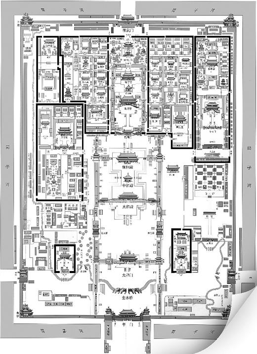 故宫平面图,黑线以内2016年后无办公区.