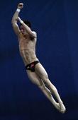 图文:跳水系列赛莫斯科站 林跃空中姿态特写