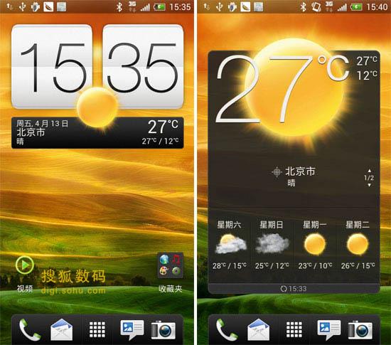 HTC ONE X手机桌面天气插件