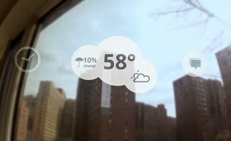 """谷歌上周推出的""""Project Glass""""计算机眼镜正在演示天气预报"""