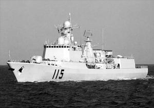 由导弹驱逐舰合肥舰(舷号174)、兰州舰(舷号170),导弹护卫舰