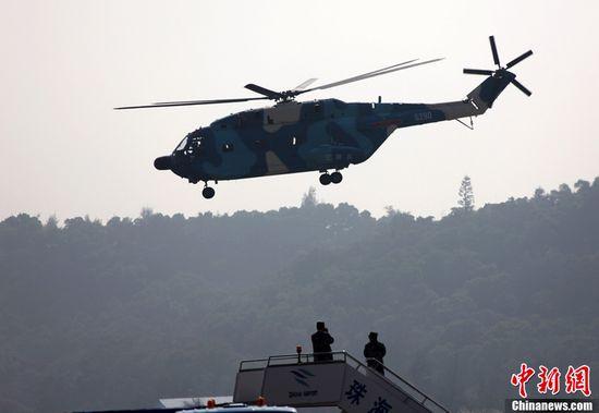 """""""直八""""型舰载救护直升机。"""