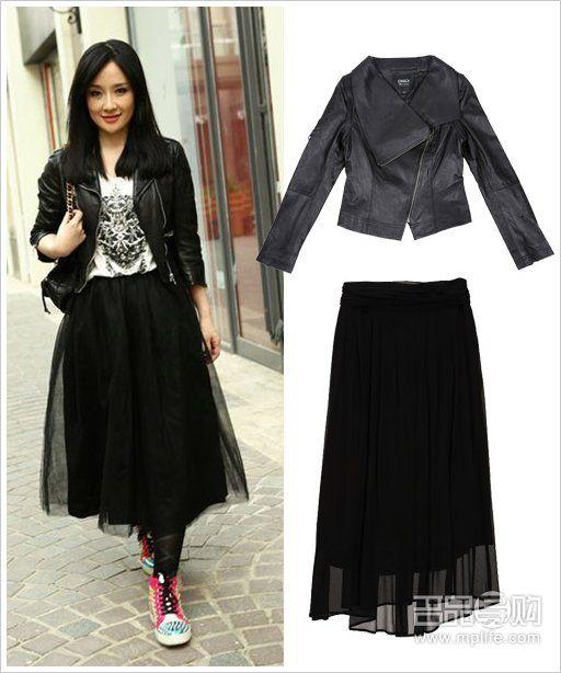 黑皮衣 黑纱裙图片