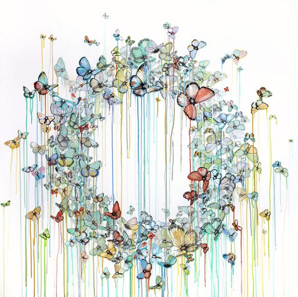 唯美 艺术家/翩然飞舞的蝴蝶、机灵可爱的鸟儿,这些是美国艺术家Sage