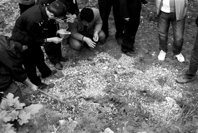 前日,公安、药监、质检等部门人员抽检一处被掩埋的胶囊。前日,西安高陵县青云产业园一没有挂牌的制药厂掩埋胶囊,警方已控制厂方负责人。王智 摄
