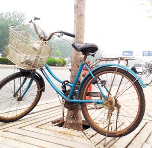护栏变存放点 自行车停放怎一个乱字了得图片