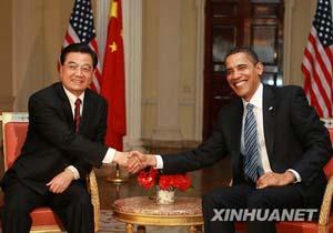 2009年4月1日,国家主席胡锦涛同美国总统奥巴马在伦敦举行会晤。新华社记者 鞠鹏摄