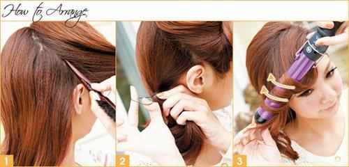 前面区域往侧编拨当作侧编刘海使用   2,将后方区域的头发在侧编扎起