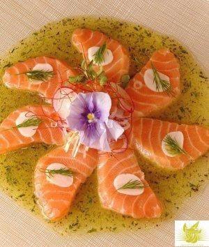 柠檬叶香草汁法式鲑鱼刺身