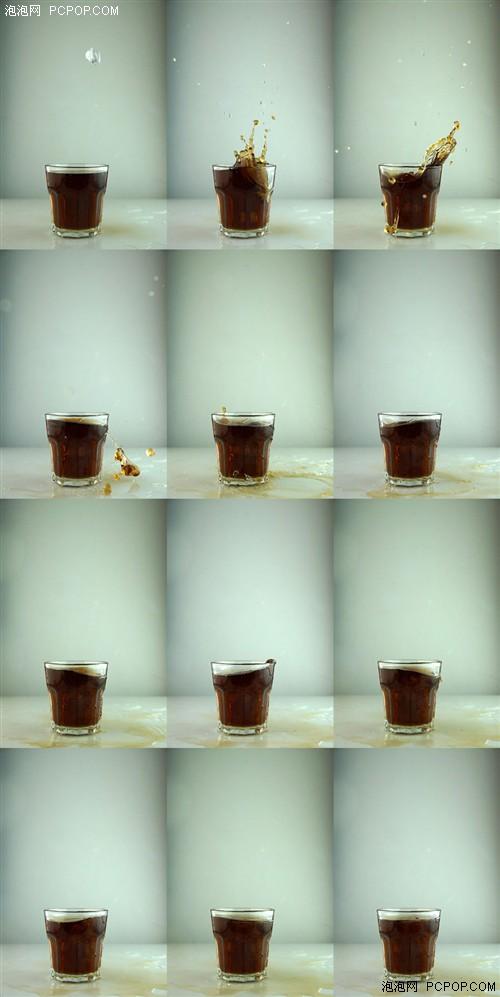 如上图,12张/秒的连拍可以抓拍到物体从高处掉进水杯里溅起水花的更多瞬间,从而保证抓拍的成功率。