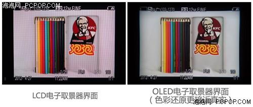 上图为影棚环境下拍摄的LCD/OLED电子取景器界面,可以看到OLED电子取景器的色彩还原更接近真实,对比度也更高。