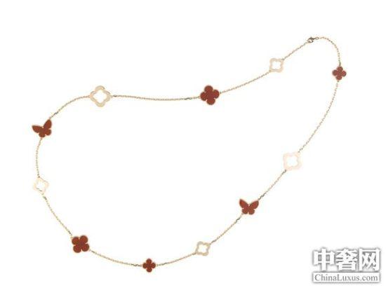 梵克雅宝Alhambra红玉髓粉金限量版长项链