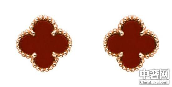 梵克雅宝Alhambra红玉髓粉金耳钉