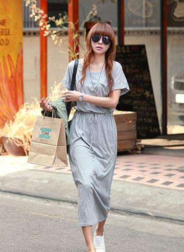灰色休闲长裙