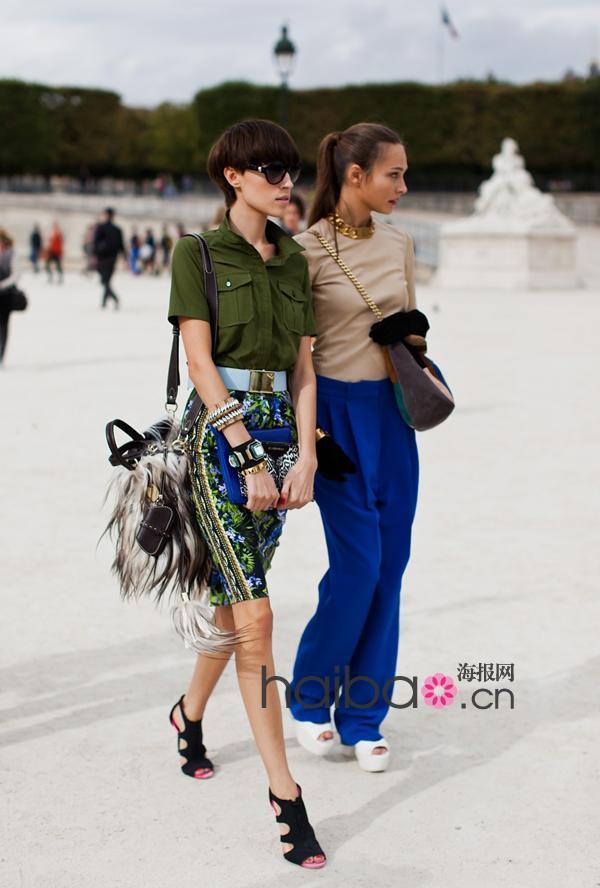 难忘街角的那抹亮色!欧美型人街拍示范2012春夏炫色单品搭配,撞色穿搭突出重点!