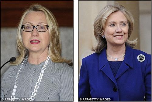 希拉里如今的形象和其2011年3月时的形象(右)对比。
