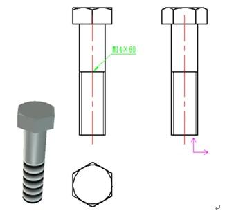 CAXA三维CAD:v螺纹螺纹中自动生成视图简化cad图公交港湾图片