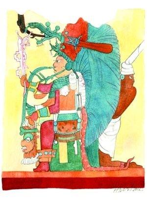 遗址墙上画的玛雅首领。