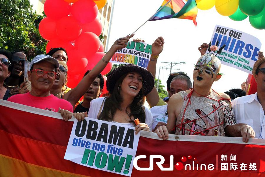 同性恋 哈瓦那/当地时间2012年5月12日,古巴哈瓦那,300多名同性恋和活动者...