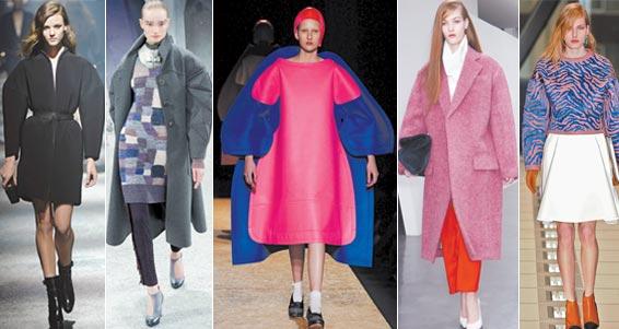 大尺码服装 大码服装是否永远占上风?在巴黎的秋冬时装季,情况似乎是如此。把肩部加宽以及臂部朝外弯曲,服装的比例呈宽版化,背部则显宽松化。所推出的外套与夹克衫很有派,两个裤管较为肥大。但是,不同于上次(当时这样的衬垫曾流行一时,即上世纪80年代)的是:这次推出服装的弯角处显得更为柔和,不是那么棱角分明;大尺码服装可以起到保护作用整个人似乎能安然藏于其间。当然它给人以某种震慑感(瞧,我的外套尺码比你的要大!)但通常说来,似乎更多的是给人以束缚感,而不是让人大摇大摆地走。用阴阳说来看就是通过强化阴来弱