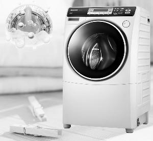 松下近期主推的斜式滚筒洗衣干衣机阿尔法系列,通过搭载光动银除菌图片