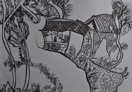 儿童线描画作品图片; 线描写生风景