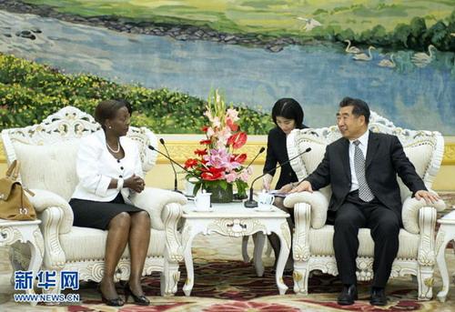 2012年5月23日,国务院副总理回良玉在人民大会堂会见了来访的卢旺达外交与合作部长穆希基瓦博。