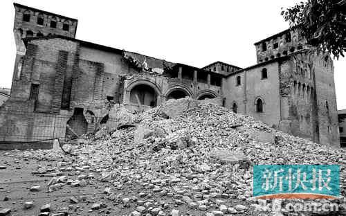 菲利斯帕纳罗镇地标--艾斯特家族1332年所建的拉罗卡城堡受损严重。