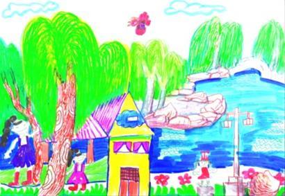 公园儿童画图片大全; 孩子眼中的美丽家园;;