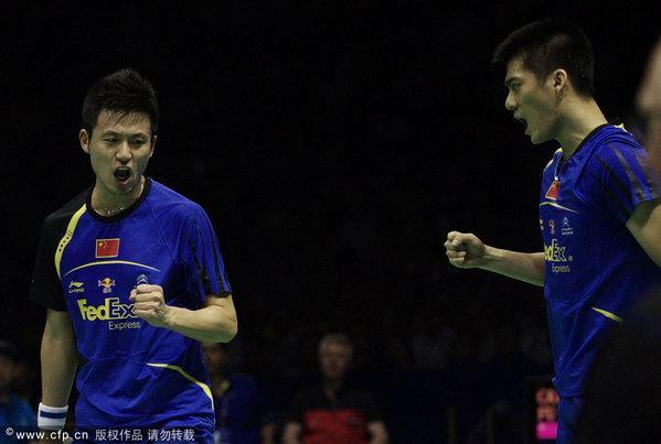 汤姆斯杯中国VS韩国 蔡赟与傅海峰比赛兴奋