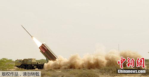 """当地时间5月29日,巴基斯坦成功试射了一枚可携带核弹头的短程弹道导弹""""哈塔夫-9""""型导弹。据悉,该型导弹射程范围为60公里。"""