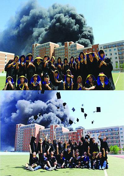 背景 毕业照/毕业照的背景是滚滚浓烟
